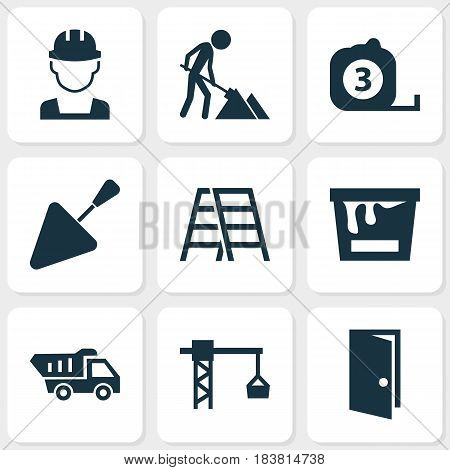 Building Icons Set. Collection Of Maintenance, Engineer, Measure Tool And Other Elements. Also Includes Symbols Such As Rule, Builder, Can.
