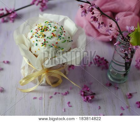 Festive Easter baking. Easter.   Colorful still lifes with pastries.