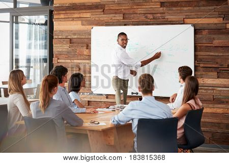 Young black man stands at whiteboard addressing team at meeting