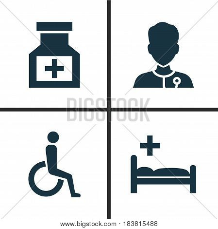 Drug Icons Set. Collection Of Polyclinic, Handicapped, Drug Elements. Also Includes Symbols Such As Stethoscope, Heartbeat, Healthy.