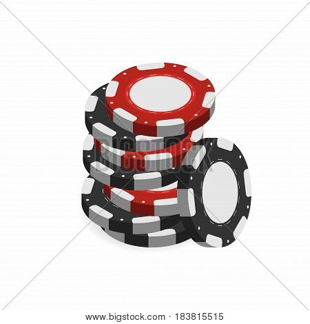 Casino chips in stack isolated on white background. Realistic 3d gambling chips. Vector illustration for website brochure logo ui in applications