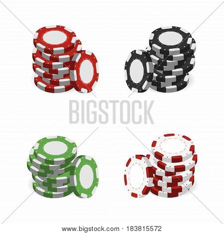 Casino chips in stacks isolated on white background. Realistic 3d gambling chips. Vector illustration for website brochure logo ui in applications. Colorful set