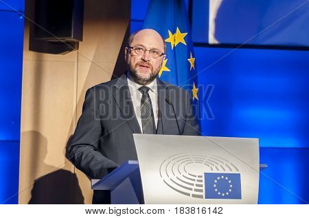 BRUSSELS, BELGIUM. January 27, 2016. Martin Schulz, German politician, former president of the European Parliament.