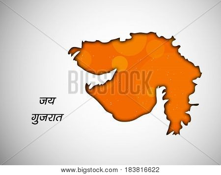 Illustration of map of gujarat state, India with hindi text of jai gujarat