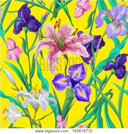 Seamless pattern with flowers. Iris, lily pink and white.Vector. Hand drawn