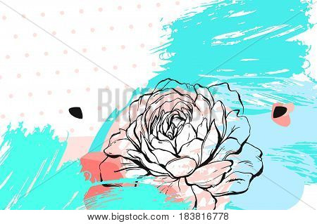 Hand drawn vector abstract floral collage header with spring flowers.Feminine design for card, invitation, save the date, wedding, birthday, greeting, sale, bisiness.