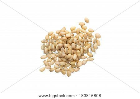 Unshelled Pine Nuts Isolated On A White Background