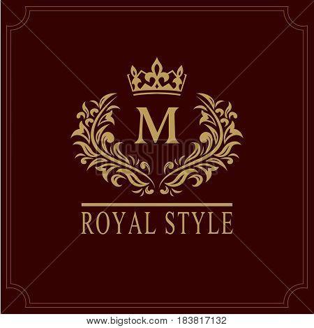 Vector illustration of Floral Monogram luxury design graceful template. Calligraphic elegant beautiful logo. Letter emblem sign M for Royalty Restaurant Boutique Hotel Heraldic Jewelry.