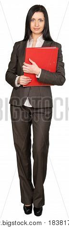 Portrait of Young Businesswoman Holding a Documnets Folder