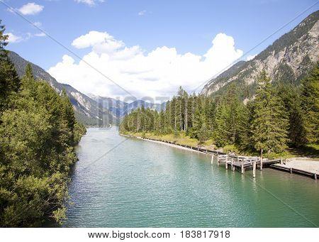 View at little lake Plansee Tirol Austria