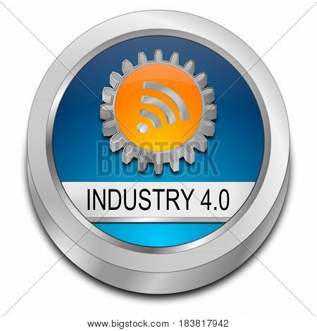 blue Industry 4.0 button - 3D illustration