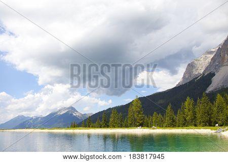 View at little lake near Ehrwald Tirol Austria
