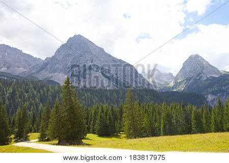 Beautiful view at mountains in summer in near Ehrwald Tirol Austria
