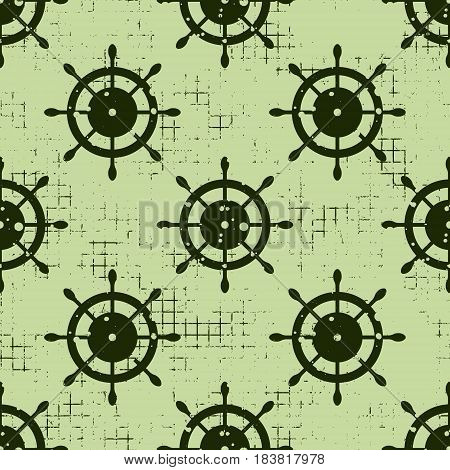 Vector Seamless Pattern Background With Steering Wheel, Waves Creative Geometric Vintage Backgrounds