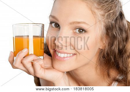 Portrait of a Young Woman with a Glass of Orange Juice