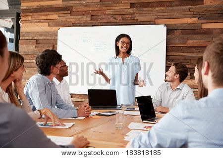 Young black woman stands addressing colleagues at a meeting
