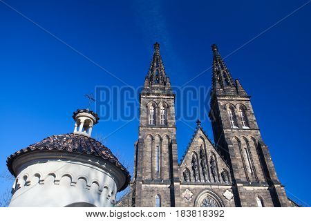 Basilica of St. Peter and St. Paul in Prague. The Basilica is a neo-Gothic church in Vysehrad fortress in Prague Czech Republic