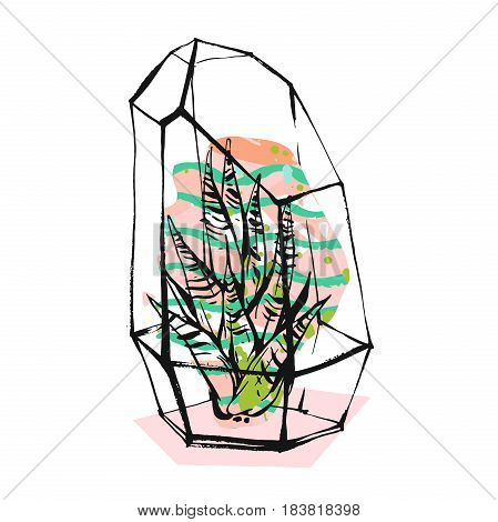Hand drawn vector abstract illustration with rough terrarium and succulent plants in pastel color isolated on white background.Design for decoration, fashion, fabric, save the date, scandinavian decor.