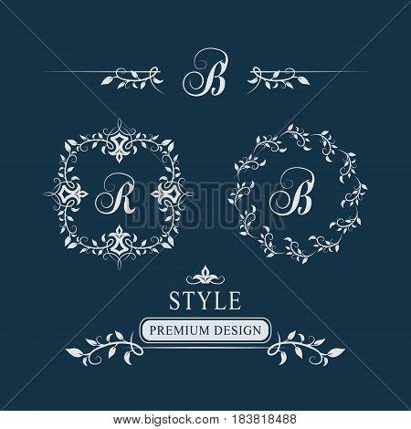 Decorative Floral Vintage Monogram. Set Of Calligraphic Logo Templates. Letter Emblem Sign R, B. Des