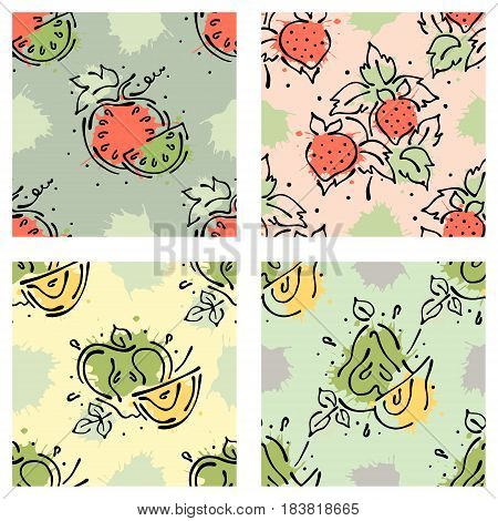 Vector Fruits Seamless Pattern. Watermelon, Strawberry, Berry, Apple, Pear With Leaves, Blots, Drops