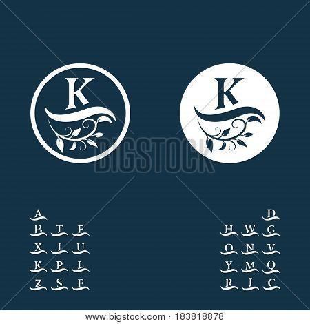 Vector illustration of Decorative Floral Vintage Monogram. Calligraphic Logo Templates. Letters on the wave. Emblem sign K. Design Page. Graphic Luxury frame border. stickers signage labels cards.