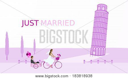 Just married - wedding. Bridal couple with bicycle and balloons. The leaning tower of Pisa in the background Purple shade.