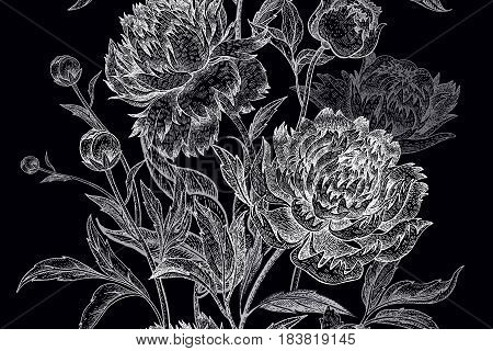 Flowers peonies roses leaves and branches. Seamless vector pattern. Vintage illustration art. Black and white engraving. Template for design paper fabric wallpaper wrapping covers case phone.