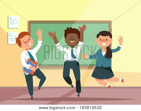 Vector illustration happy group elementary school boy and girl jumping in classroom in cartoon style. The design concept postcard for teachers ' day