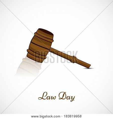 Illustration of gavel for law Day on white background