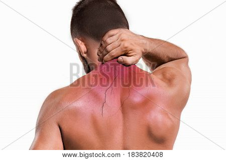 Studio shot of man with pain in neck. Concept of pain