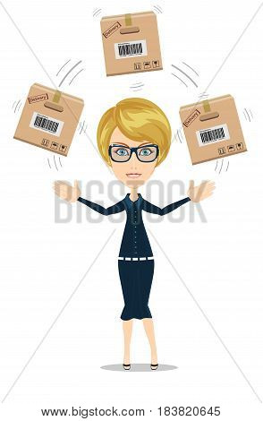 delivery service woman with box vector illustration isolated on white background. smiling cartoon businesswoman juggling with cardboard box.