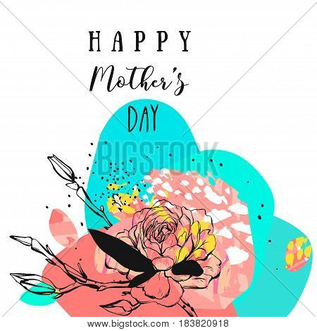 Hand drawn vector abstract floral collage with Happy Mothers Day calligraphy quote, flowers.Feminine design for card, invitation, save the date, birthday, wedding.Happy Mothers Day concept collage.