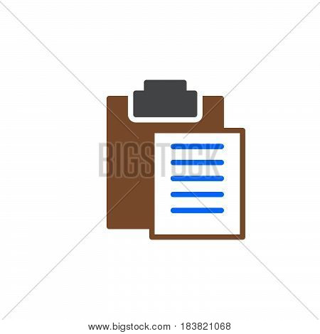 Clipboard paste icon vector filled flat sign solid colorful pictogram isolated on white. Symbol logo illustration. Pixel perfect