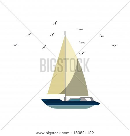 sailboat icon over white background. vector illustration