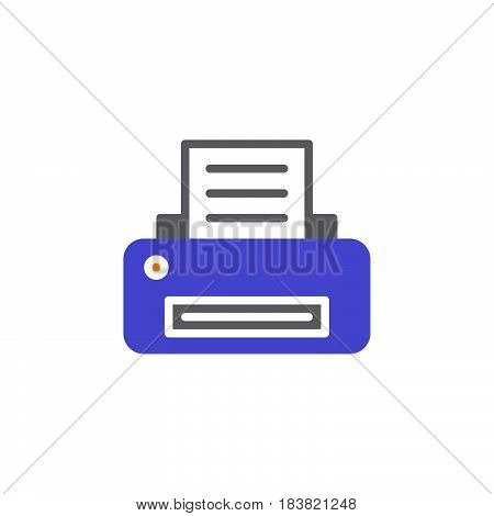 Printer icon vector filled flat sign solid colorful pictogram isolated on white. Printing symbol logo illustration. Pixel perfect