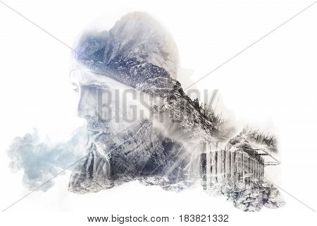 double exposure of hiker breathing out with rocky landscapes