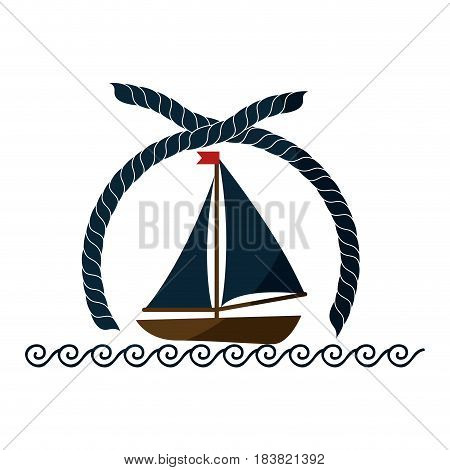 emblem with sailboat icon over white background. vector illustration