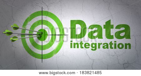 Success Information concept: arrows hitting the center of target, Green Data Integration on wall background, 3D rendering