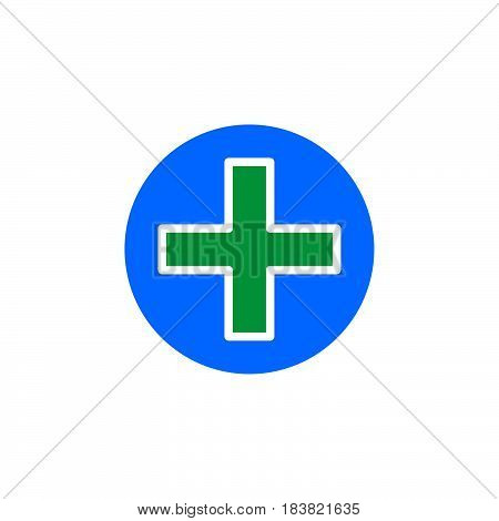 Cross in circle icon vector filled flat sign solid colorful pictogram isolated on white. Add symbol logo illustration. Pixel perfect