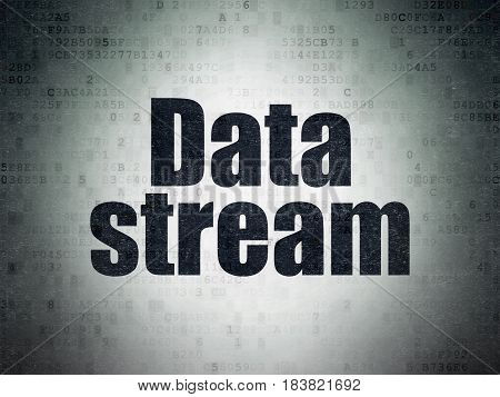 Information concept: Painted black word Data Stream on Digital Data Paper background