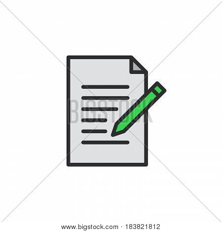 Contact form line icon. Write edit filled outline vector sign linear colorful pictogram isolated on white. Symbol logo illustration. Editable stroke. Pixel perfect