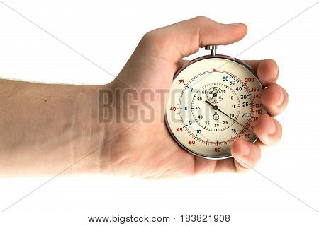 Close Up Of Hand Holding Stopwatch on White Blackground