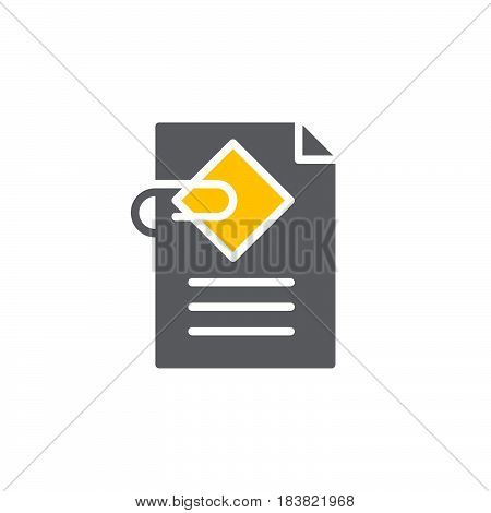 Document attachment icon vector filled flat sign solid colorful pictogram isolated on white. Symbol logo illustration. Pixel perfect