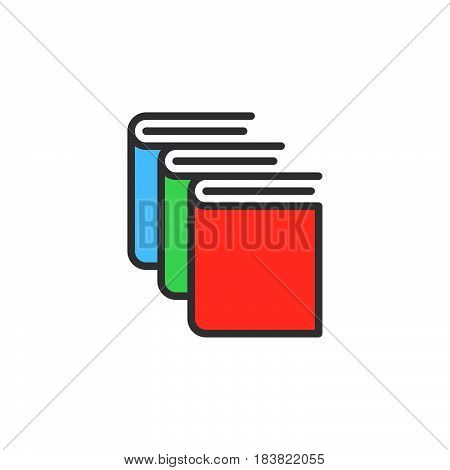 Books library line icon filled outline vector sign linear colorful pictogram isolated on white. Symbol logo illustration. Editable stroke. Pixel perfect