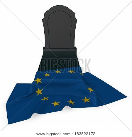 gravestone and flag of the european union - 3d rendering