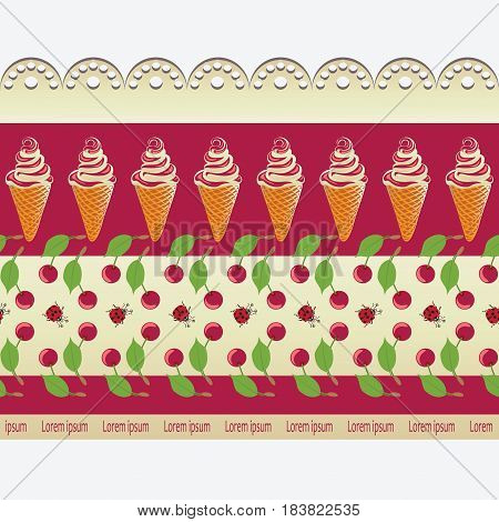 Ice cream, cherries and lace. Ornament. Design for textiles, packaging materials, decoration products for children.