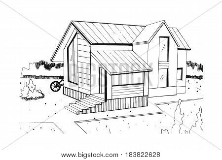 Hand drawn cottage. modern private residential house. black and white sketch illustration