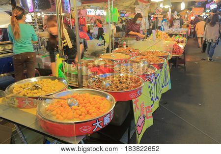 TAIPEI TAIWAN - DECEMBER 7, 2016: Traditional Taiwanese food at Song Shan Raohe Night market.