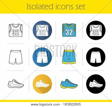 Basketball player's uniform icons set. Flat design, linear, black and color styles. Ball, shoe, t-shirt, shorts. Isolated vector illustrations