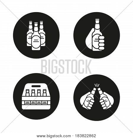 Beer icons set. Cheers, box, toasting hands with beer bottles. Vector white silhouettes illustrations in black circles